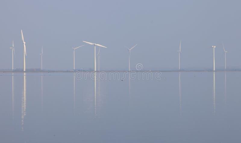 Die Windkraftanlagen und blauer Himmel, die im Wasser von eemmeer nahe reflektiert werden, huizen in Holland stockbild