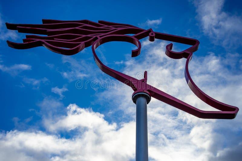 Die Windwaechter-Statue am Südstrand in Wilhelmshaven, Deutschland lizenzfreies stockbild