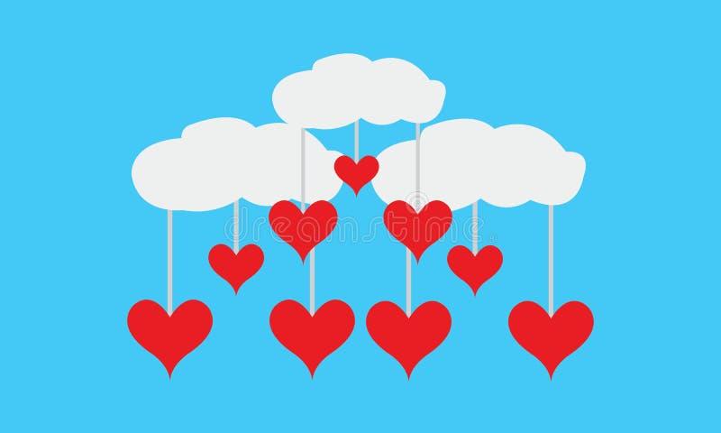 Die Wolken-Liebes-Rot des Vektor-Valentinsgrußes lizenzfreie stockfotografie