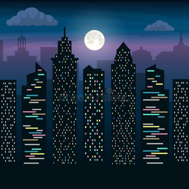 Die Wolkenkratzer der Großstadt im Mondschein Schöne Abbildung Flache Illustration des Vektors stock abbildung