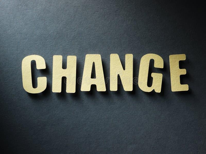 Die Wort Änderung auf Papierhintergrund lizenzfreies stockfoto