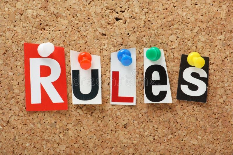 Die Wort Regeln stockbild