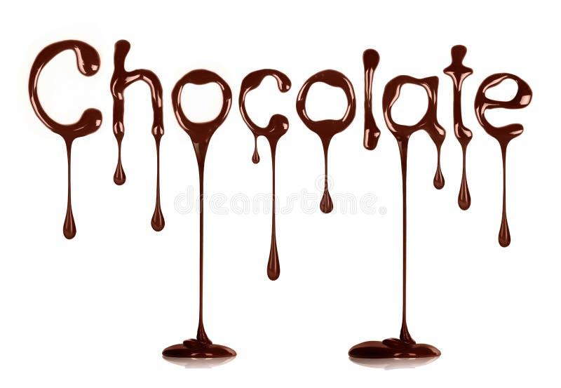 Die Wort Schokolade geschrieben durch flüssige Schokolade auf Weiß lizenzfreie stockbilder