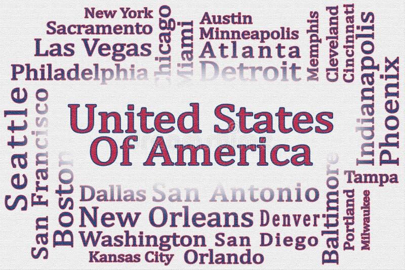 Die Wortwolke Vereinigten Staaten von Amerika mit seinen Städten mit strukturiertem weißem Hintergrund vektor abbildung