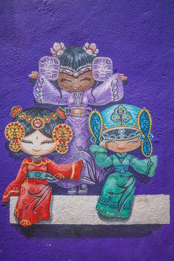 Die wunderbare Straßenkunst von Georgetown, Malaysia stockfotos