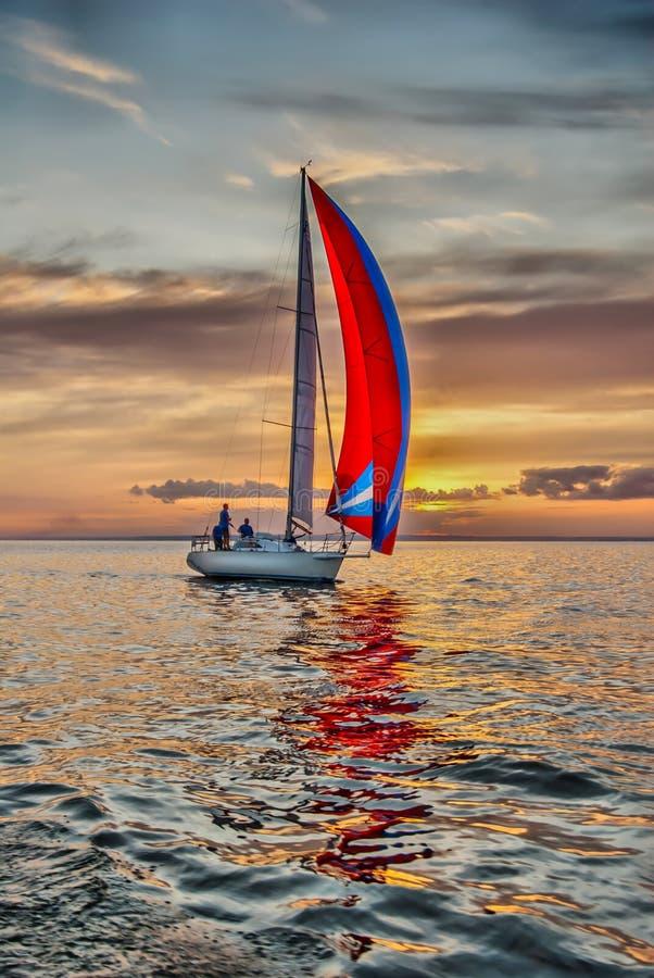 Die Yacht nimmt an den Konkurrenzen im Segeln teil stockfoto