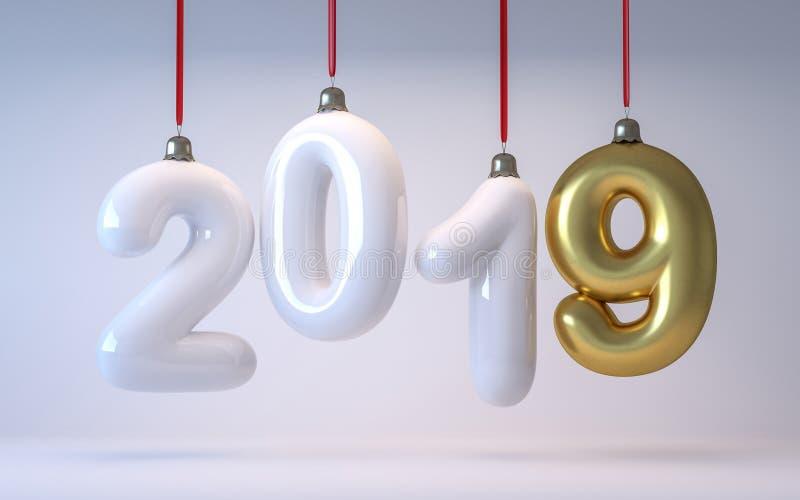 Die Zahl 2019 des neuen Jahres in Form von Weihnachtsbaumspielwaren 3d übertragen stockbilder