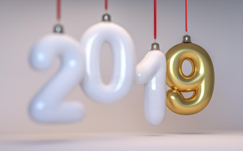 Die Zahl 2019 des neuen Jahres in Form von Weihnachtsbaumspielwaren mit einer Schärfentiefe 3d übertragen lizenzfreie stockbilder