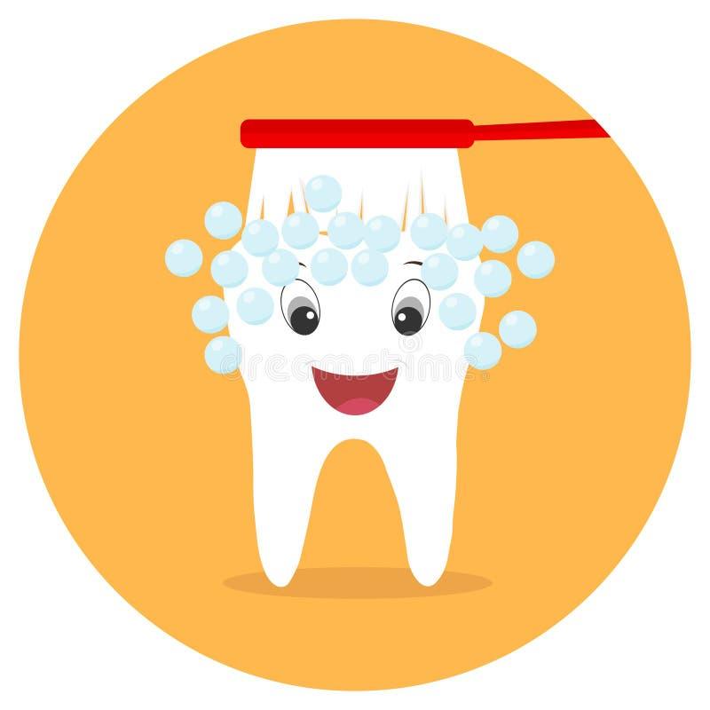 Die Zahnbürste säubert den Zahn Ein lebhafter Zahn eines Mannes mit einem Mund und Augen vektor abbildung