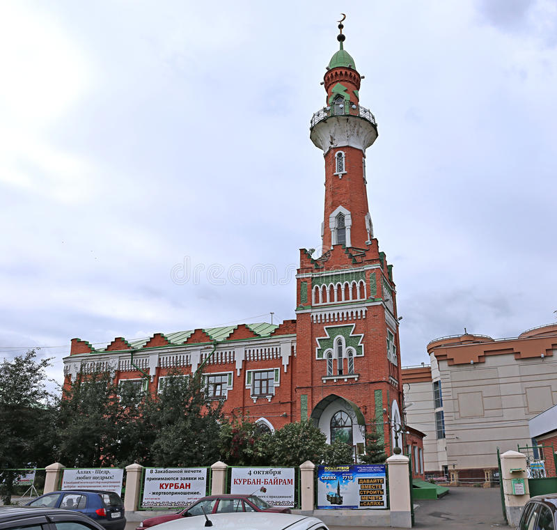 Die Zakabannaya-Moschee in Kasan lizenzfreie stockfotos