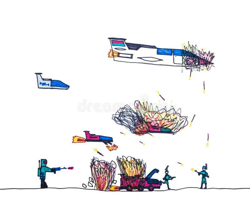 Die Zeichnung der Kinder des Militärkampfes stock abbildung
