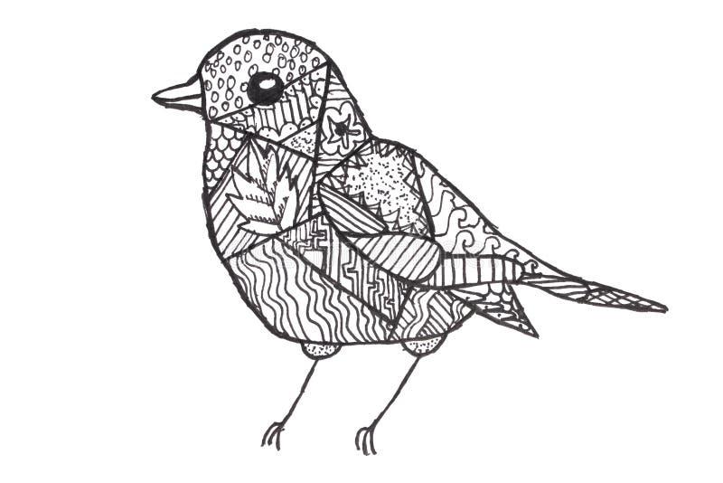 Die Zeichnung der Kinder ein Vogel lizenzfreie abbildung