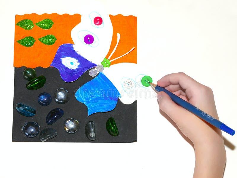 Die Zeichnung des Kindes. lizenzfreie stockfotos