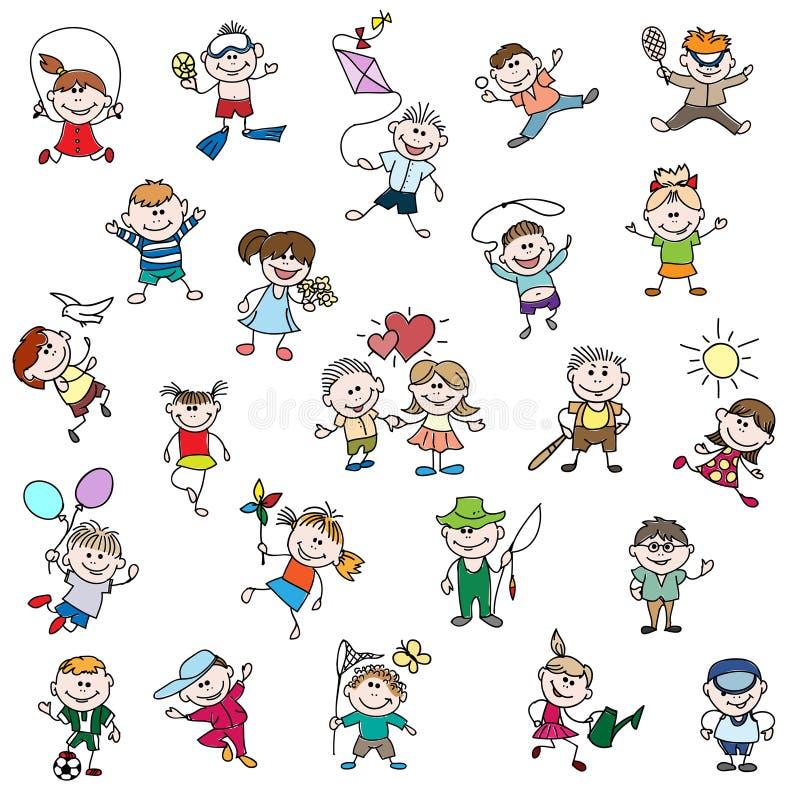 Die Zeichnungen der Kinder von Gekritzelleuten vektor abbildung