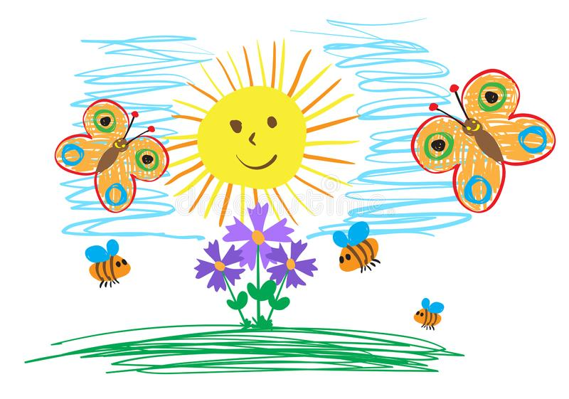 Die Zeichnungen der Kinder von Insekten, von Sonne und von Blumen Das Kind zeichnet Sommer lizenzfreie abbildung