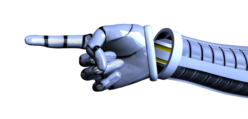 Die zeigende Roboter-Hand - enthält Ausschnittspfad lizenzfreie abbildung