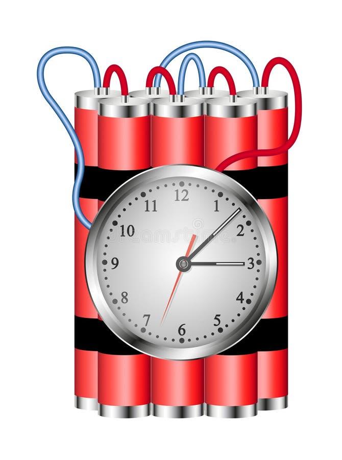 Die Zeitbombe, die an Borduhr angeschlossen wird, explodiert lizenzfreie abbildung