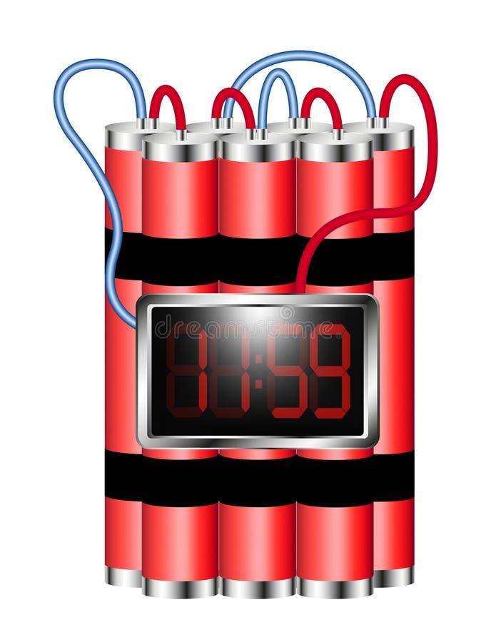 Die Zeitbombe, die an Digitaluhr angeschlossen wird, explodiert lizenzfreie abbildung