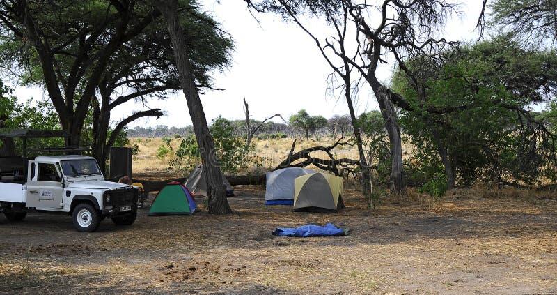 Die Zelte, die zur Nacht in der Safari bereit sind, kampieren stockbild