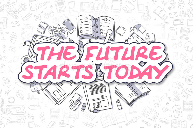 Die Zukunft beginnt heute - Geschäfts-Konzept stock abbildung