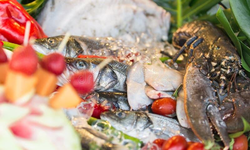 Die Zusammensetzung von Meeresfrüchten stockfotografie