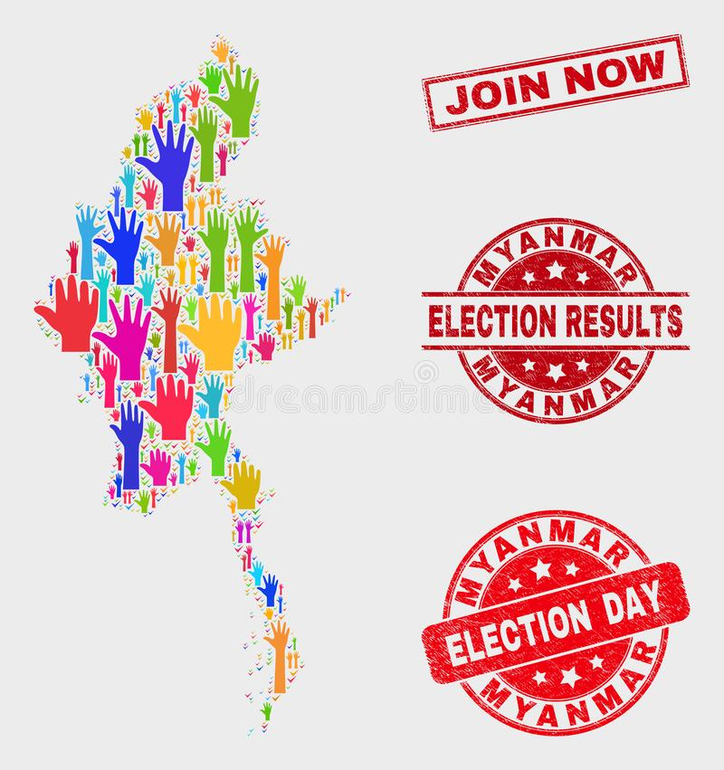 Die Zusammensetzung Wahl-Myanmar-Karte und verkratzt schließen sich jetzt Stempelsiegel an lizenzfreie abbildung