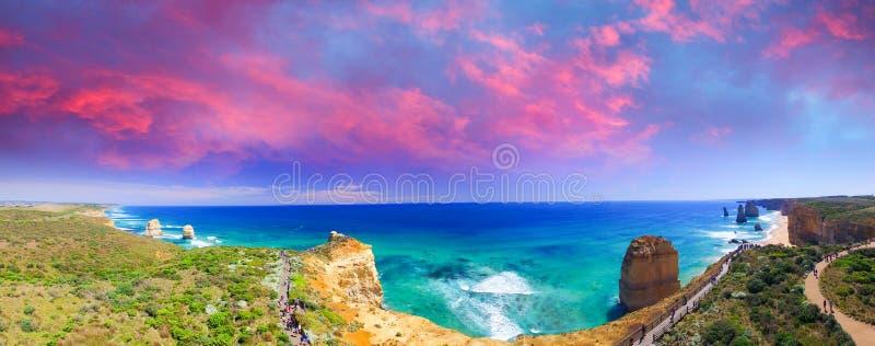 Die zwölf Apostel, Australien Erstaunlicher Luftpanoramablick a stockbilder
