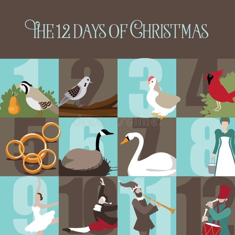 Die zwölf Tage von Weihnachten vektor abbildung