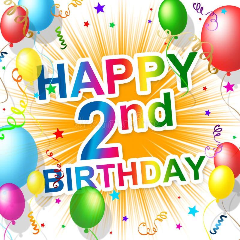 Die zweiten beglückwünschenden Geburtstags-Shows feiern und Feier vektor abbildung