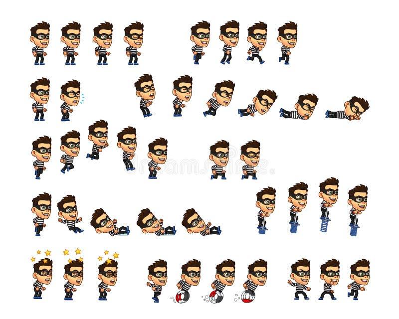 Dieb-Cartoon Character Game-Animation Sprite vektor abbildung