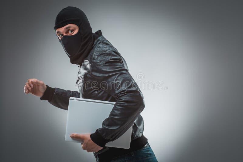 Dieb, der eine Laptop-Computer stiehlt auf grauem Hintergrund lizenzfreies stockfoto