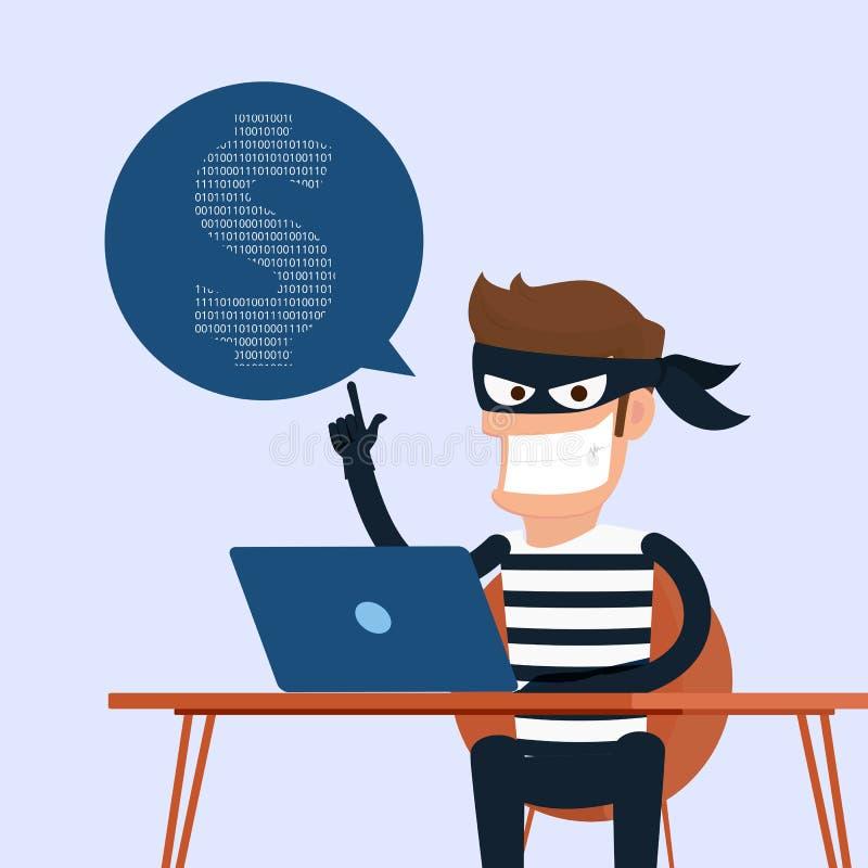 dieb Der Hacker, der sensible Daten als Passwörter von einem Personal-Computernützlichen für phishing und Internet-Antiviren stie vektor abbildung