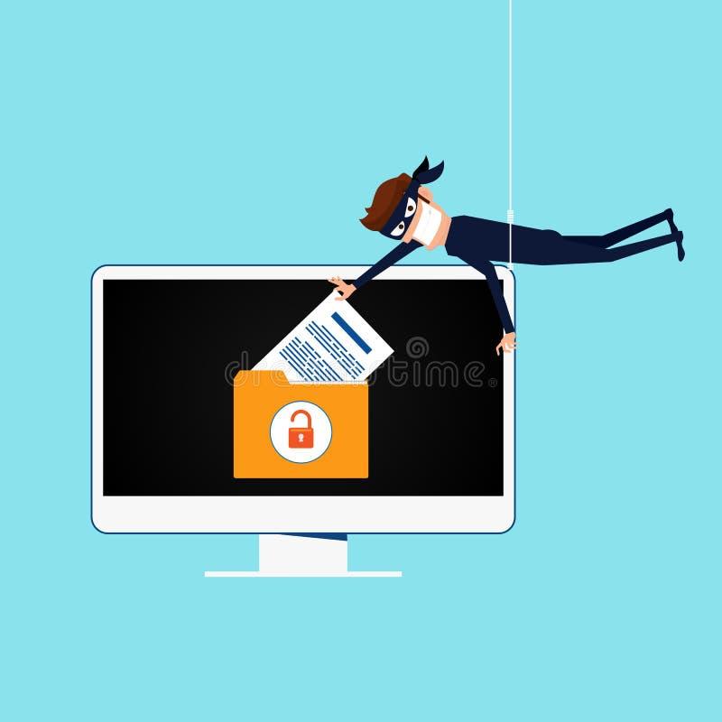 dieb Der Hacker, der sensible Daten als Passwörter von einem Personal-Computernützlichen für phishing und Internet-Antiviren stie lizenzfreie abbildung