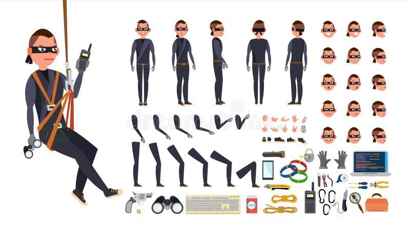 Dieb, Hacker-Vektor lebhafter Charakterschaffungssatz Schwarze Schablone Werkzeuge und Ausrüstung In voller Länge, vorder, Seite, lizenzfreie abbildung