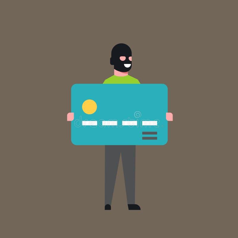 Dieb-Hold Bank Credit-Karten-Mann in Maske gestohlenem Geld-Kassakonto-Hacker-Tätigkeits-Konzept-Virus-Datenschutz-Angriff stock abbildung