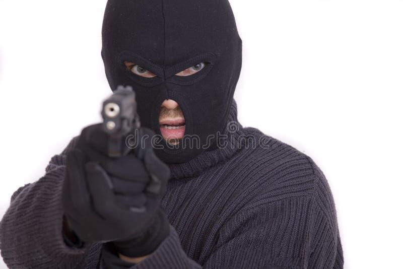 Dieb mit Gewehr stockfotos