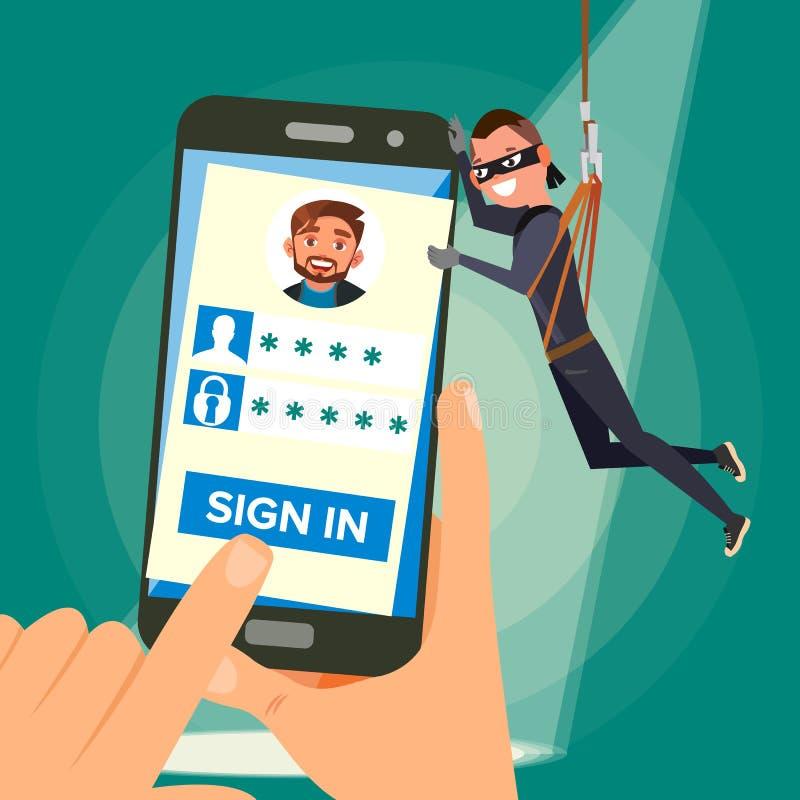 Dieb-Stealing Personal Data-Vektor Hacker-Charakter Sprungs-Benutzer-persönliche Information Fischerei des Angriffs zu Smartphone vektor abbildung
