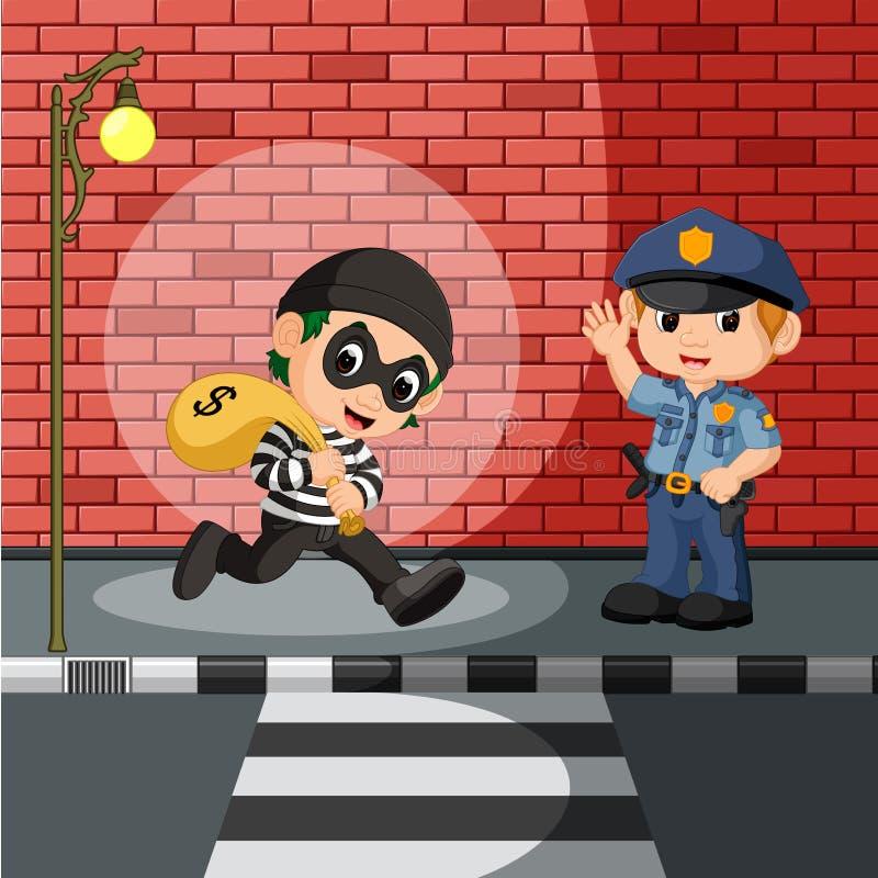 Dieb und Polizeikarikatur vektor abbildung