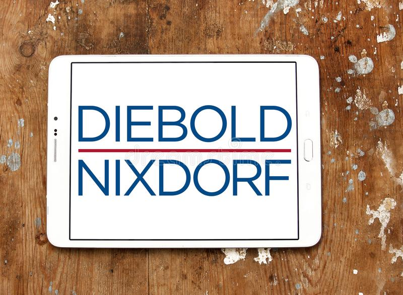 Diebold Nixdorf financial services company logo. Logo of Diebold Nixdorf on samsung tablet. Diebold Nixdorf is an American financial self service, security and royalty free stock photos