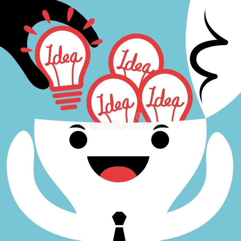 Diebstahl-oder Input-neue Ideenbirnen-Konzeptillustration lizenzfreie abbildung