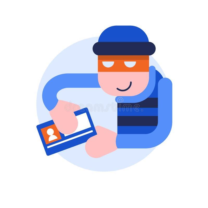Diebstahl von Personendaten Der Dieb nimmt Personendaten vektor abbildung