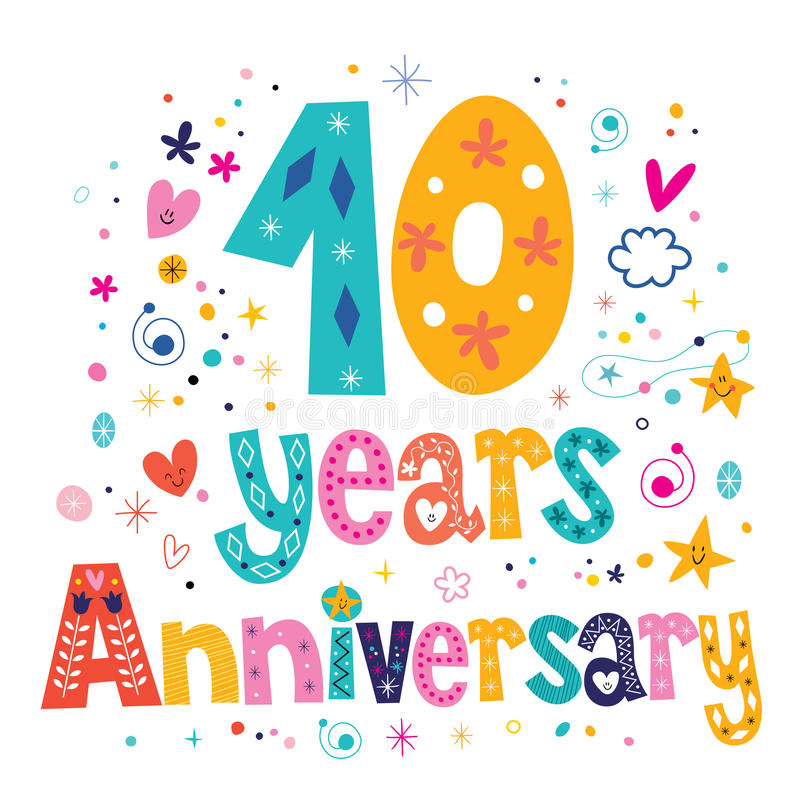 Dieci anni di anniversario di celebrazione dell'iscrizione di progettazione decorativa del testo illustrazione vettoriale