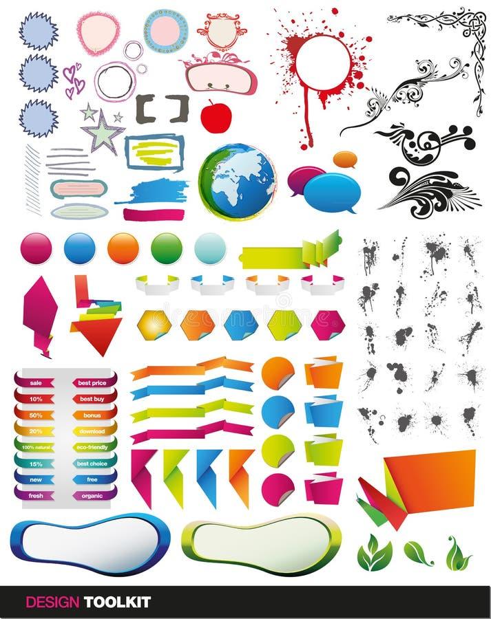 Dieci dell'insieme completo degli elementi illustrazione di stock
