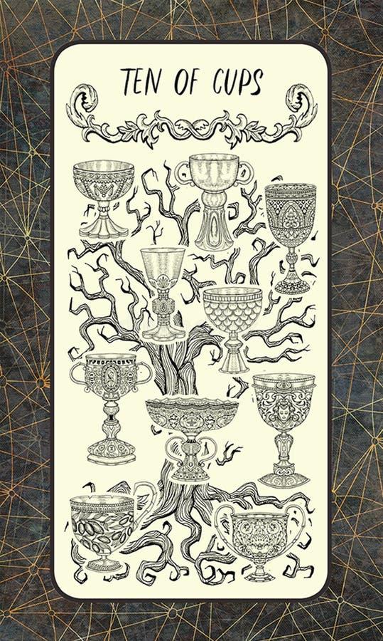 Dieci delle tazze La carta di tarocchi magica del portone illustrazione vettoriale