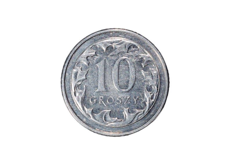 Dieci groszy Zloty polacco La valuta della Polonia Macro foto di una moneta La Polonia descrive una moneta dei groszy del Dieci-p fotografia stock libera da diritti