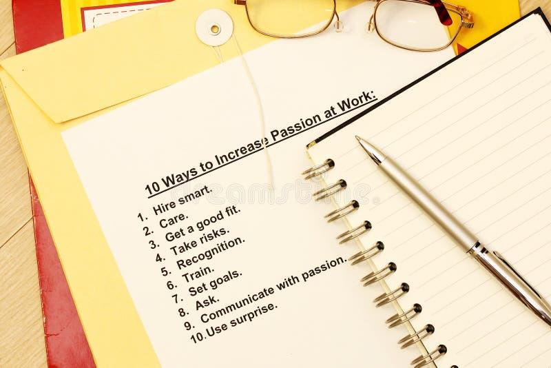 Dieci modi aumentare passione sul lavoro immagini stock libere da diritti