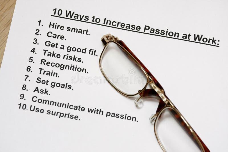 Dieci modi aumentare passione sul lavoro fotografie stock