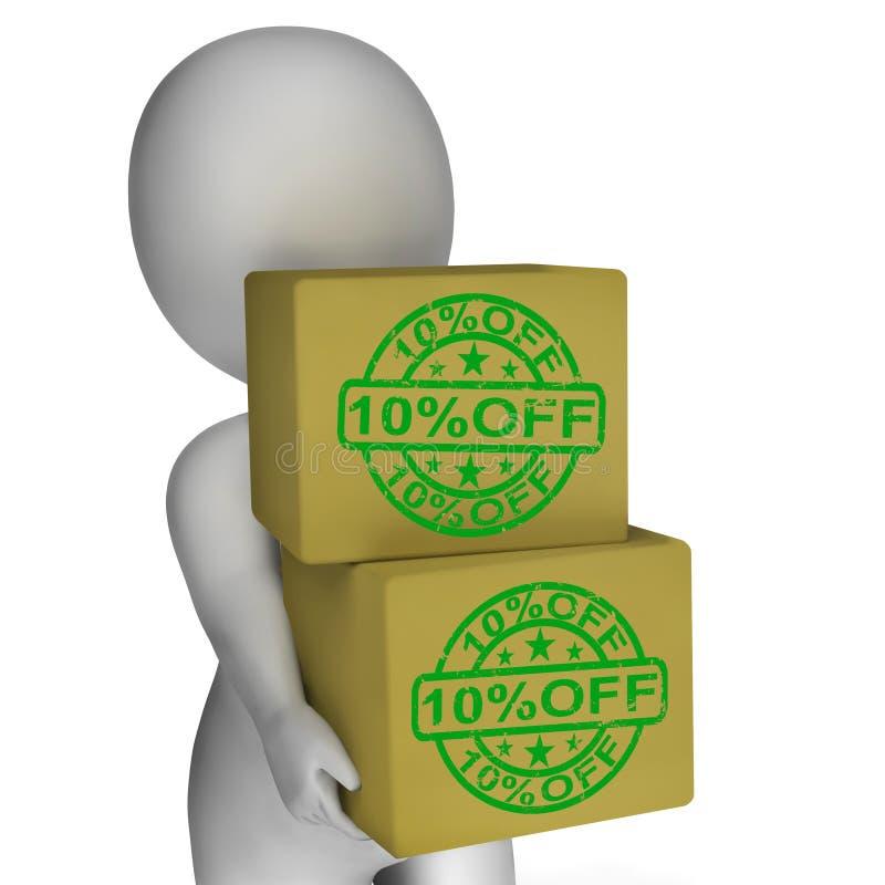 Dieci per cento fuori dai prezzi più bassi di manifestazione 10 delle scatole illustrazione di stock