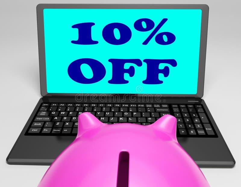 Dieci per cento fuori dal computer portatile mostrano 10 risparmi sul web royalty illustrazione gratis
