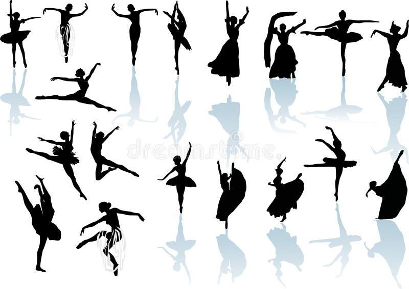 Dieciocho bailarines con la reflexión stock de ilustración